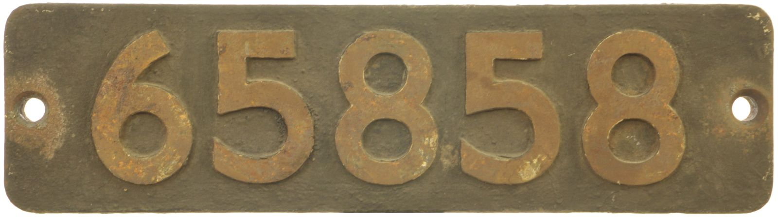Lot 26 - Railway Locomotive Smokebox Numberplates, 65858: A smokebox numberplate, 65858, from a North Eastern