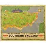 Lot 59 - Railway Posters, Southern England, Rob: A BR(S) quad royal poster, The Counties and Coastline of