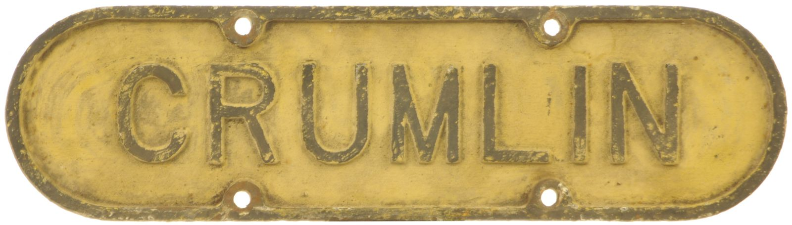 Lot 10 - Railway Station Direction Signs, Crumlin, GNR(I) Lamp Tablet: A Great Northern Railway (Ireland)