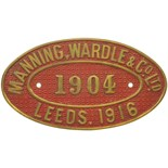 Lot 15 - Railway Locomotive Worksplates (Steam), Manning Wardle, 1904, 1916: A worksplate, MANNING WARDLE,