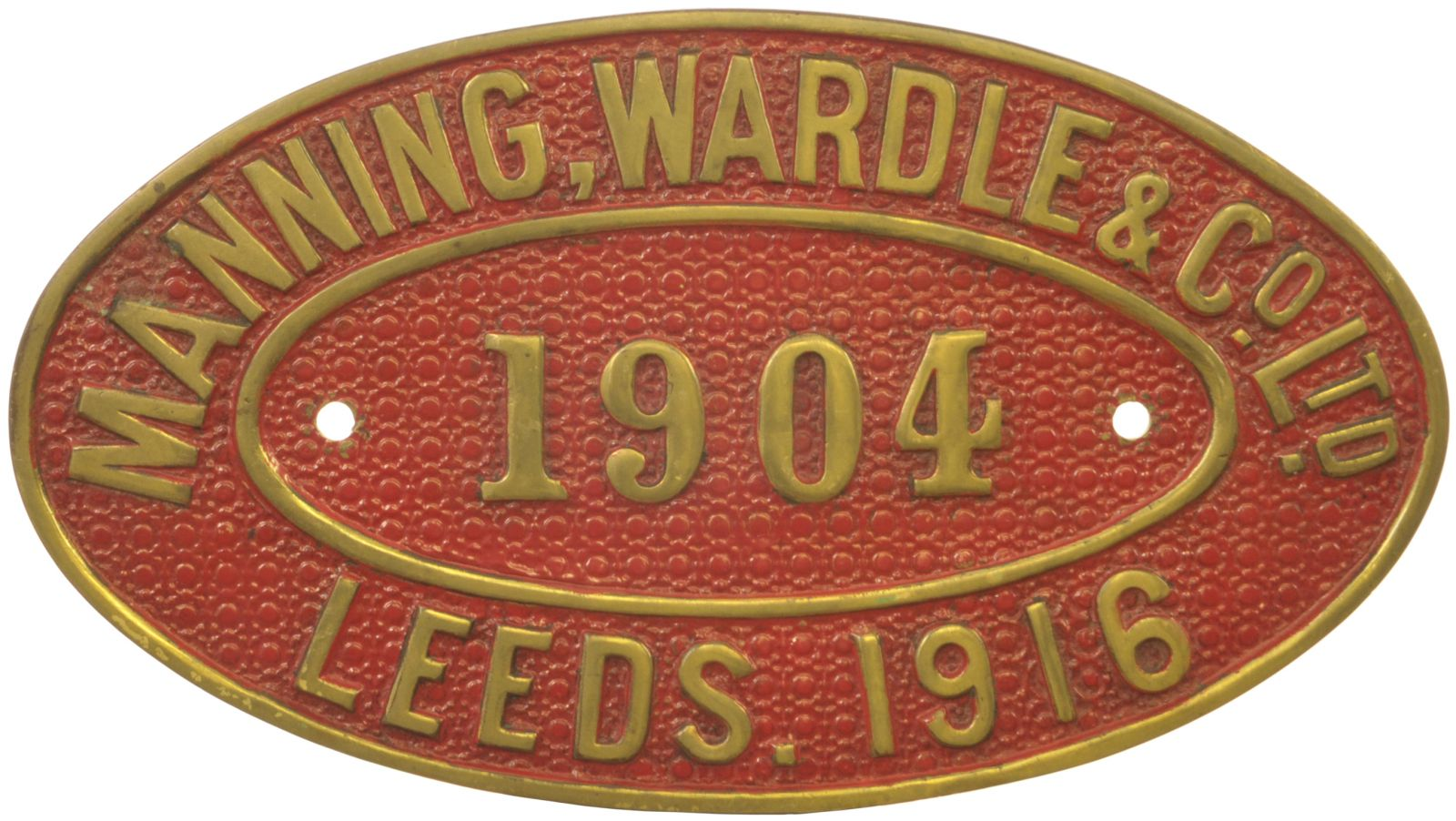 Lot 15 - Railway Locomotive Worksplates (Steam), Manning Wardle, 1904, 1916: A worksplate, MANNING WARDLE,