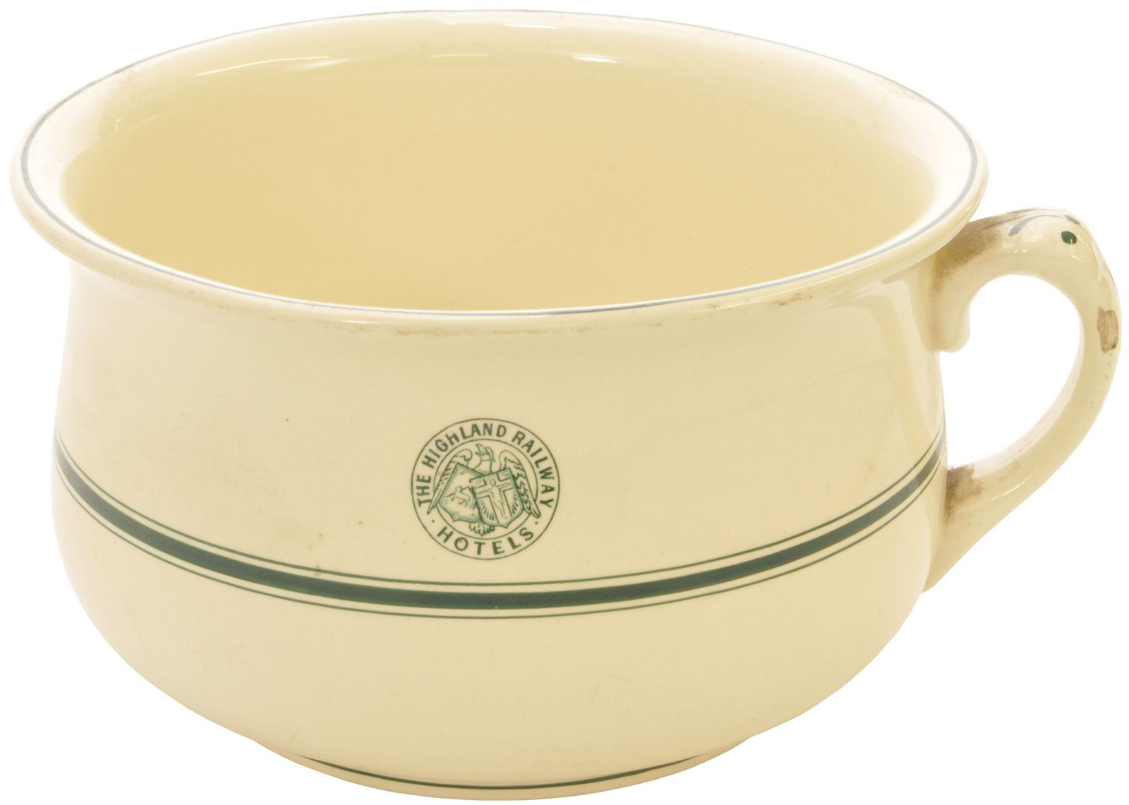 Lot 48 - China, Highland Railway Chamber Pot: A Highland Railway Hotels chamber pot by John Donaldson of