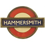 Lot 20 - Railway Station Direction Signs, Hammersmith, LT: An LT target sign, HAMMERSMITH, enamel, 12''