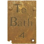 Lot 13 - Railway Street Furniture and Fittings, To Bath, 4, Milepost: An early road mile post, TO BATH 4,
