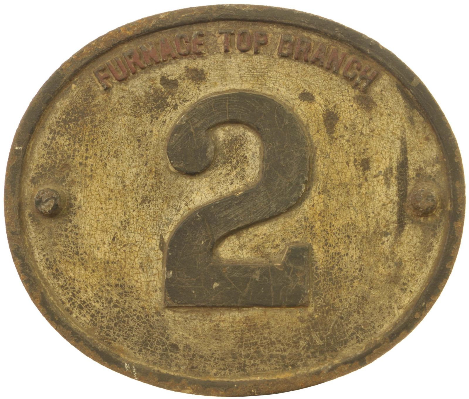 Lot 1 - Railway Bridge Numberplates, Furnace Top Branch, 2 (R. R. Co): A Rhymney Railway bridge plate,
