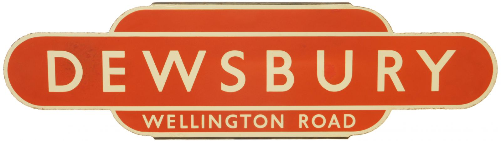 Lot 39 - Railway Station Totem Signs, Dewsbury Wellington Road: A BR(NE) totem sign, DEWSBURY WELLINGTON