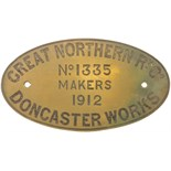 Lot 54 - Railway Locomotive Worksplates (Steam), GNR Doncaster, 1335, 1912 (69470): A worksplate, GREAT
