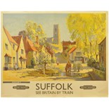 Lot 43 - Railway Posters, Kersey, Suffolk, Merriott: A BR(E) quad royal poster, SUFFOLK, KERSEY, by Jack