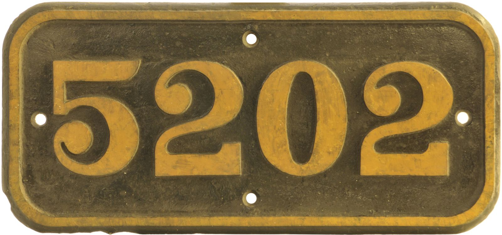 Lot 40 - Railway Locomotive Cabside Numberplates, 5202: A GWR cabside numberplate, 5202, from a 4200 Class