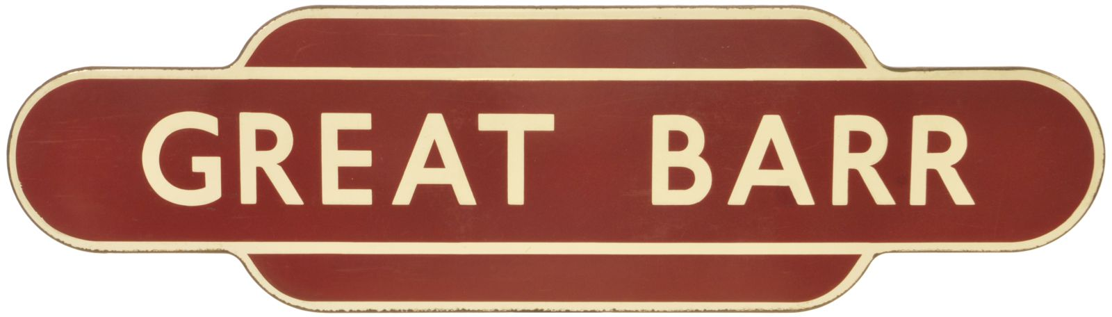 Lot 24 - Railway Station Totem Signs, Great Barr: A BR(M) totem sign, GREAT BARR, (f/f) from the Aston to
