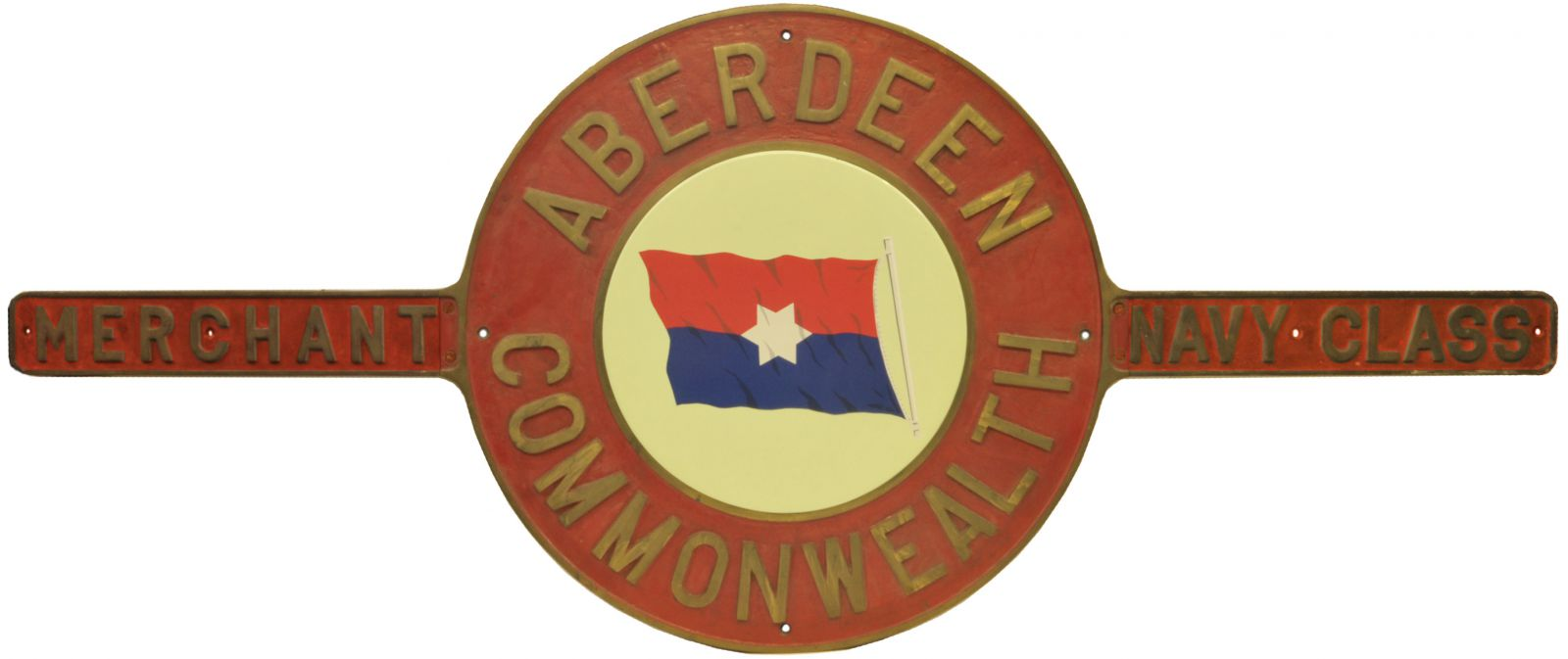 Lot 42 - Railway Locomotive Nameplates, Aberdeen Commonwealth: A nameplate, ABERDEEN COMMONWEALTH, from the