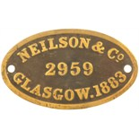 Lot 44 - Railway Locomotive Worksplates (Steam), Neilson 2959, 1883 (30574): A worksplate, NEILSON, 2959,