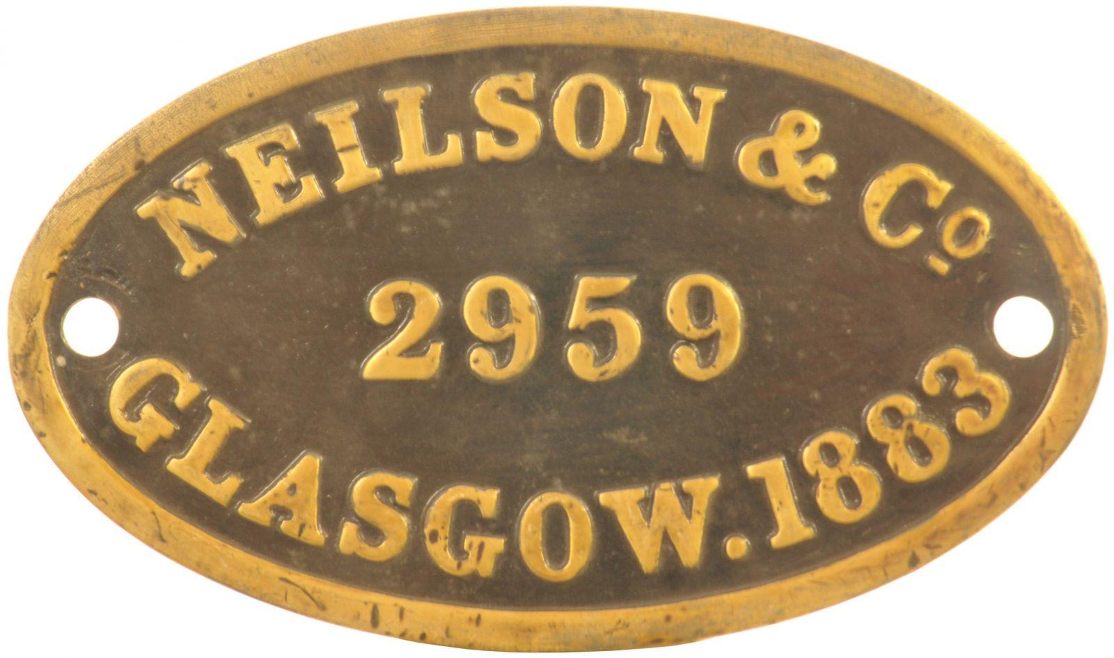 Lot 44 - Railway Locomotive Worksplates (Steam), Neilson 2959, 1883 (30574): A worksplate, NEILSON, 2959,