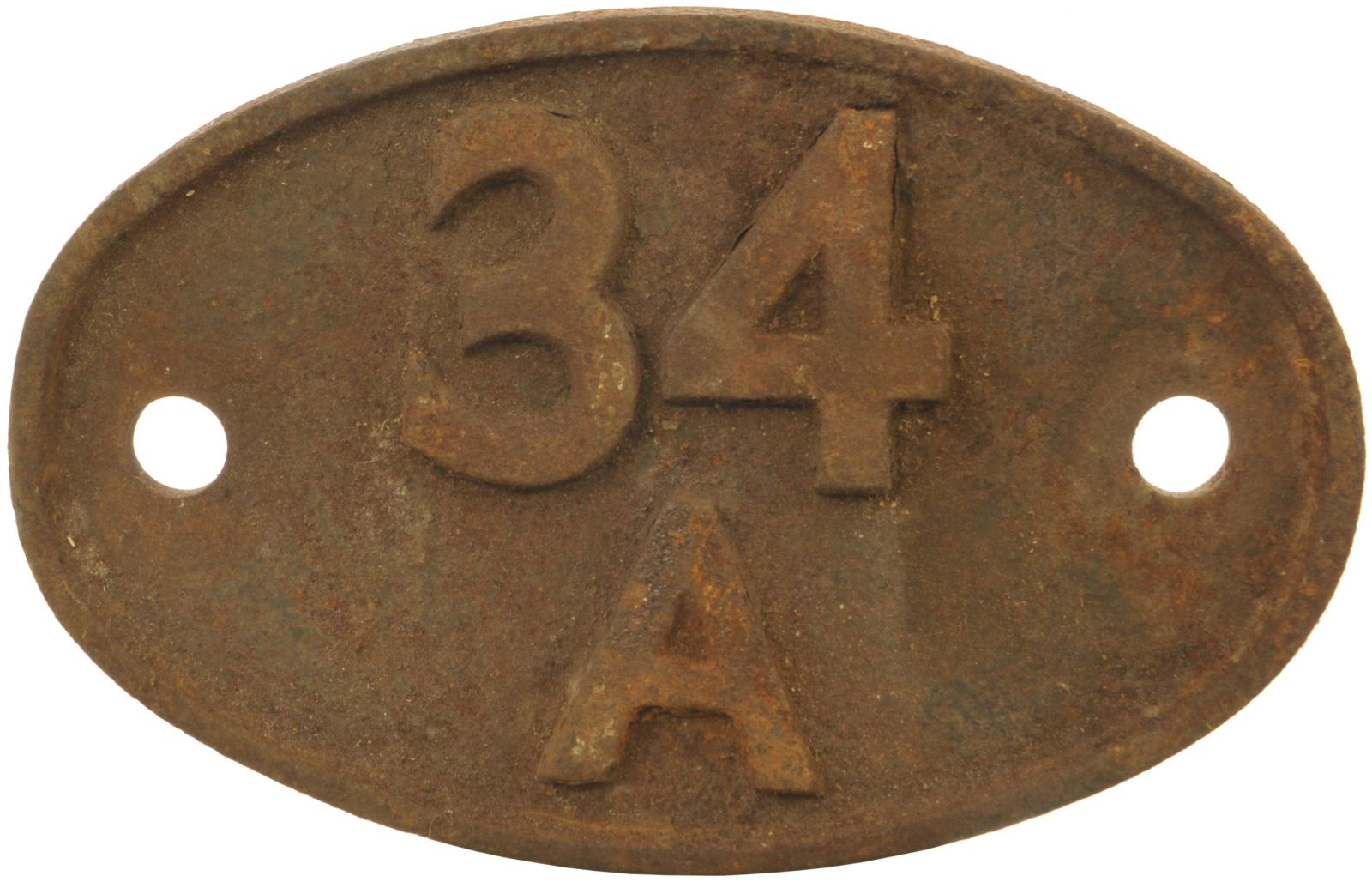 Lot 38 - Railway Locomotive Shedplates, 34A: A shedplate 34A Kings Cross (1948 to June 1963). Top shed was