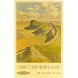 Lot 33 - Railway Posters, Northumberland, Merriott: A BR(NE) double royal poster, NORTHUMBERLAND, The Roman