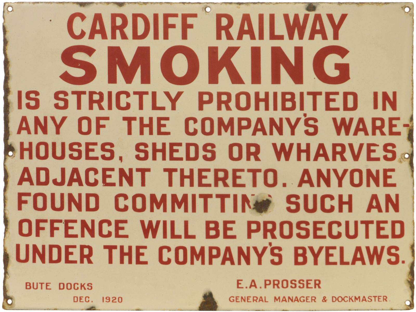Lot 14 - Enamel Railway and Station Signs, Cardiff Railway, Smoking: A Cardiff Railway notice, Smoking in
