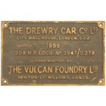 Lot 34 - Railway Locomotive Worksplates (Diesel), Drewry/Vulcan 2547/D273, 1955 (D2224): A worksplate,