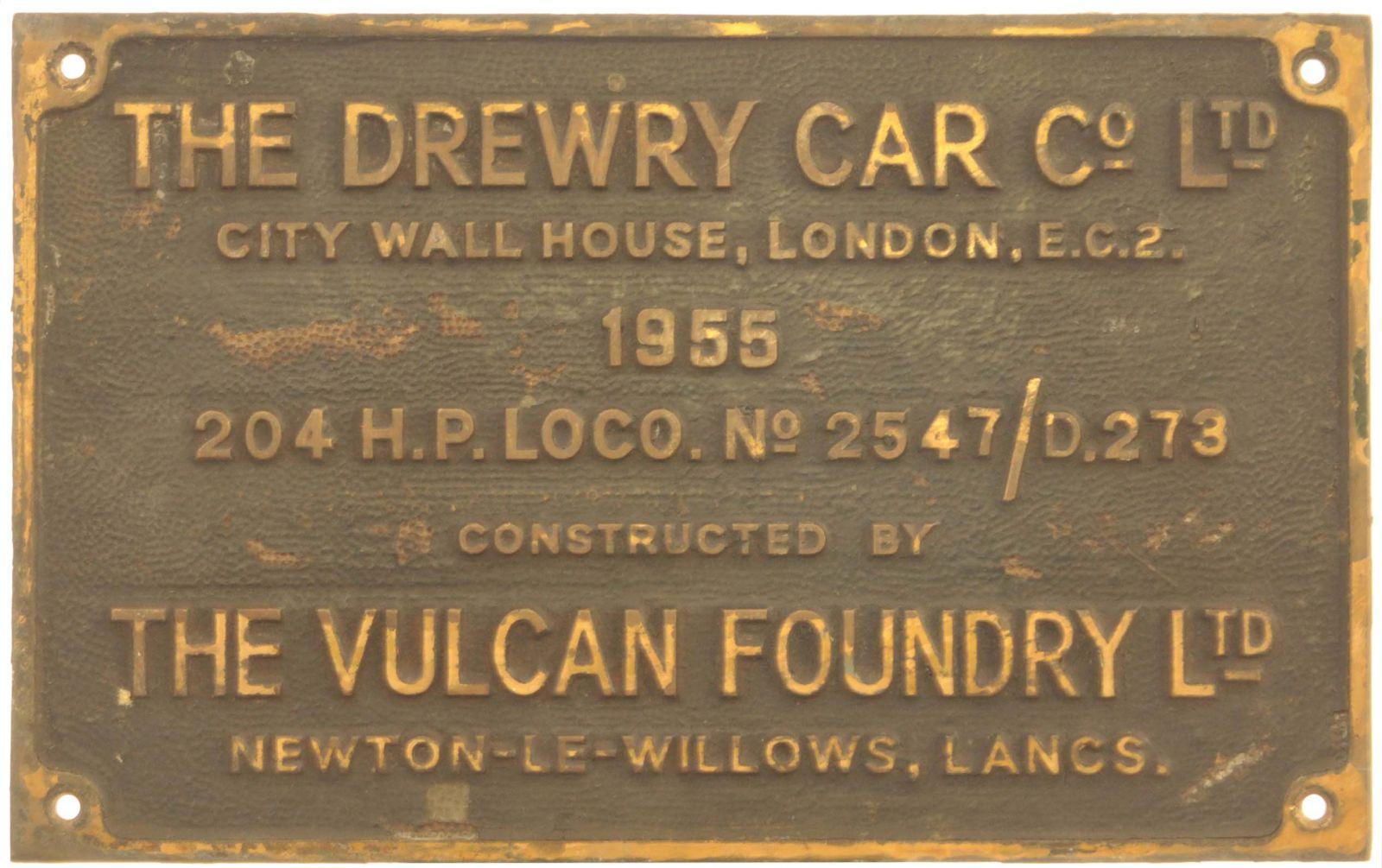 Lot 34 - Railway Locomotive Worksplates (Diesel), Drewry/Vulcan 2547/D273, 1955 (D2224): A worksplate,