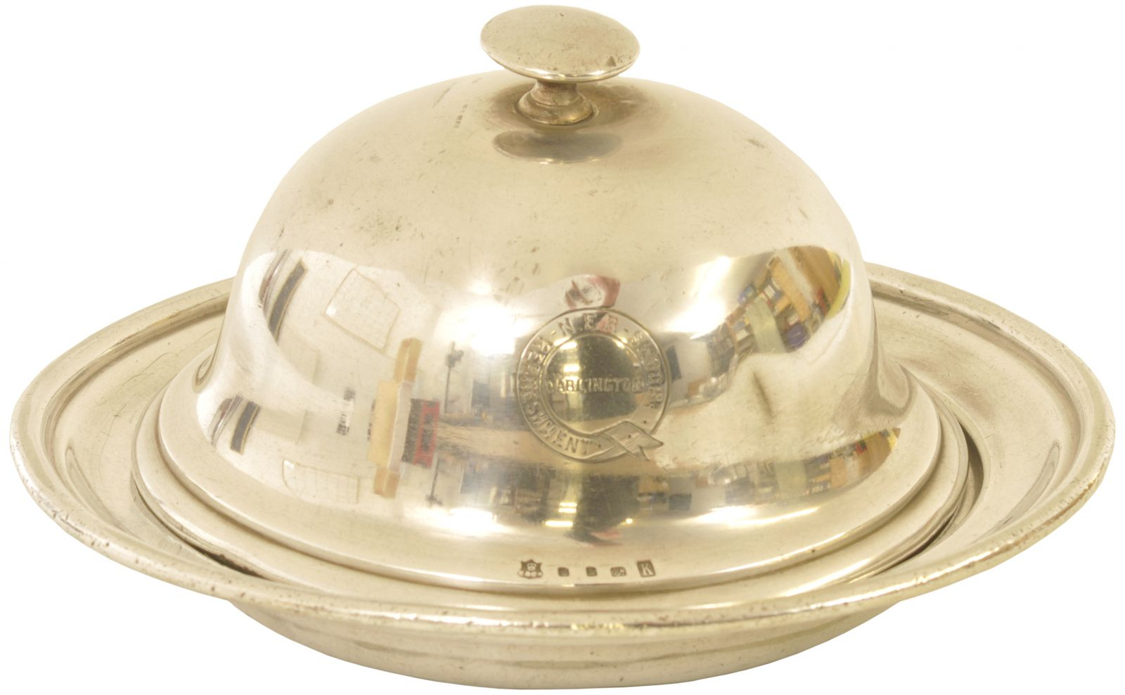 Lot 9 - Silverware, NER Darlington Muffin Dish: An N.E.R. REFRESHMENT ROOMS, DARLINGTON, silver plated
