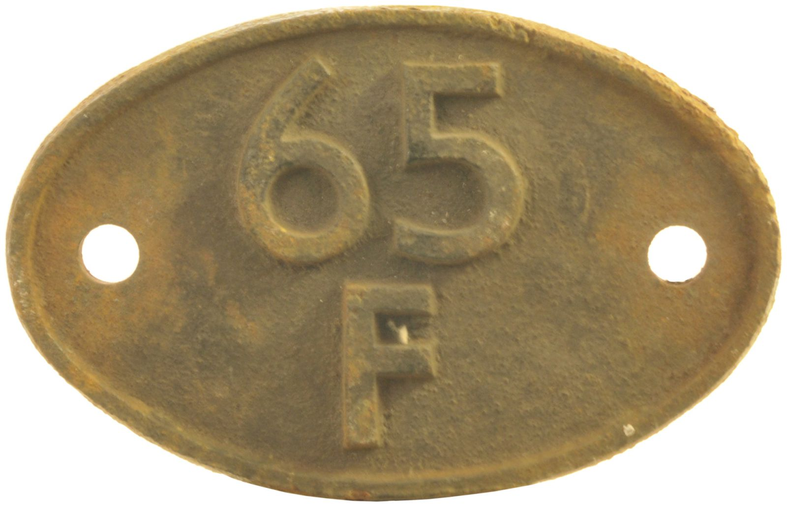 Lot 52 - Railway Locomotive Shedplates, 65F: A shed plate 65F Grangemouth (1949 to October 1965 for steam).