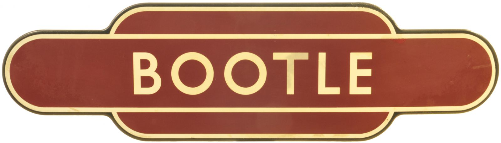 Lot 18 - Railway Station Totem Signs, Bootle: A BR(M) totem sign, BOOTLE, (f/f), from the Ravenglass to