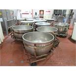 (5) Stainless soup bowls 44 in dia x 32 in deep with carbon steel bowl dolly [2nd Flr Lyco