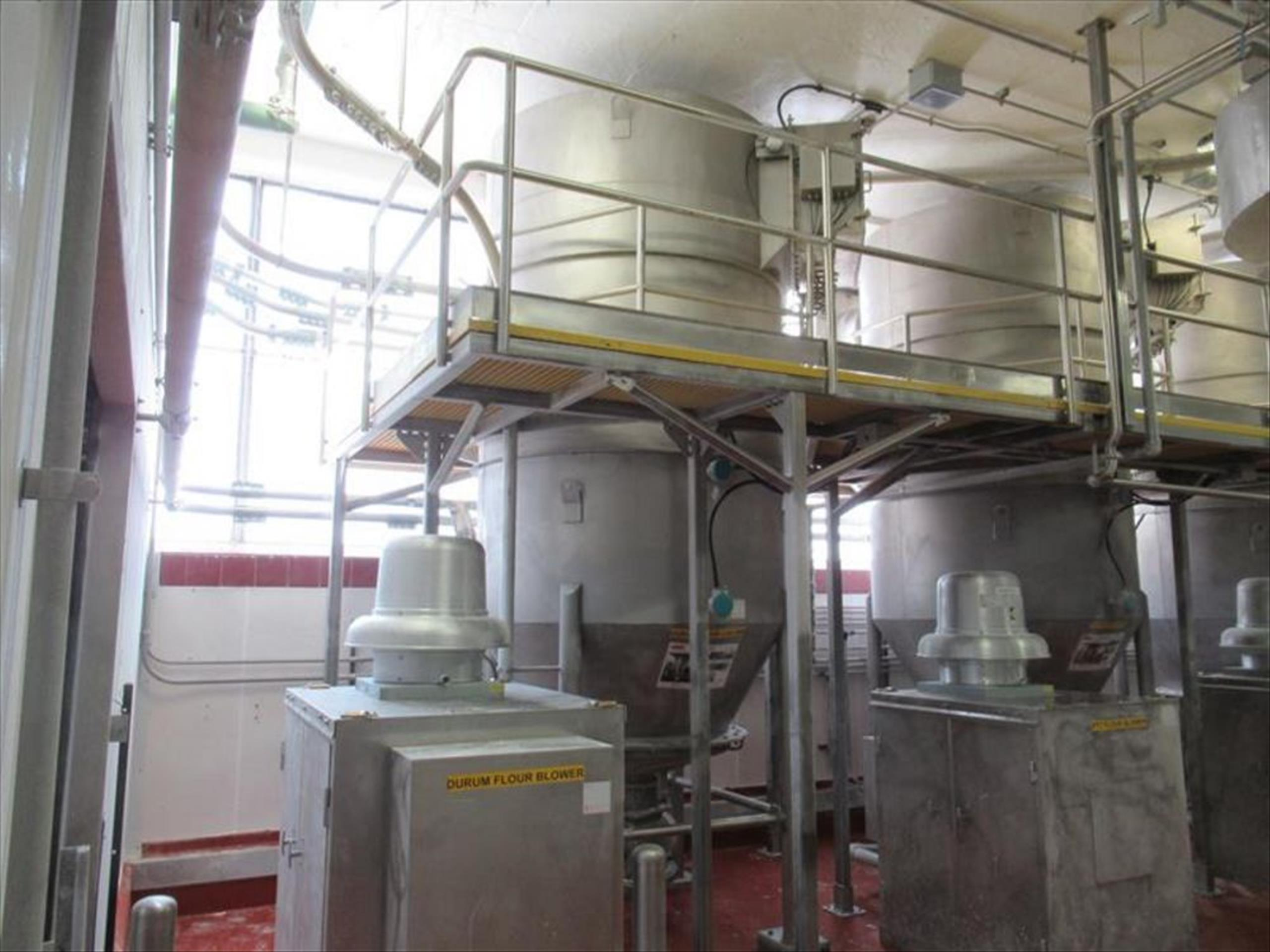 Schick durum flour receiver approx 6 ft dia x 10 ft h straight x 30 in cone bottom, cone top, with