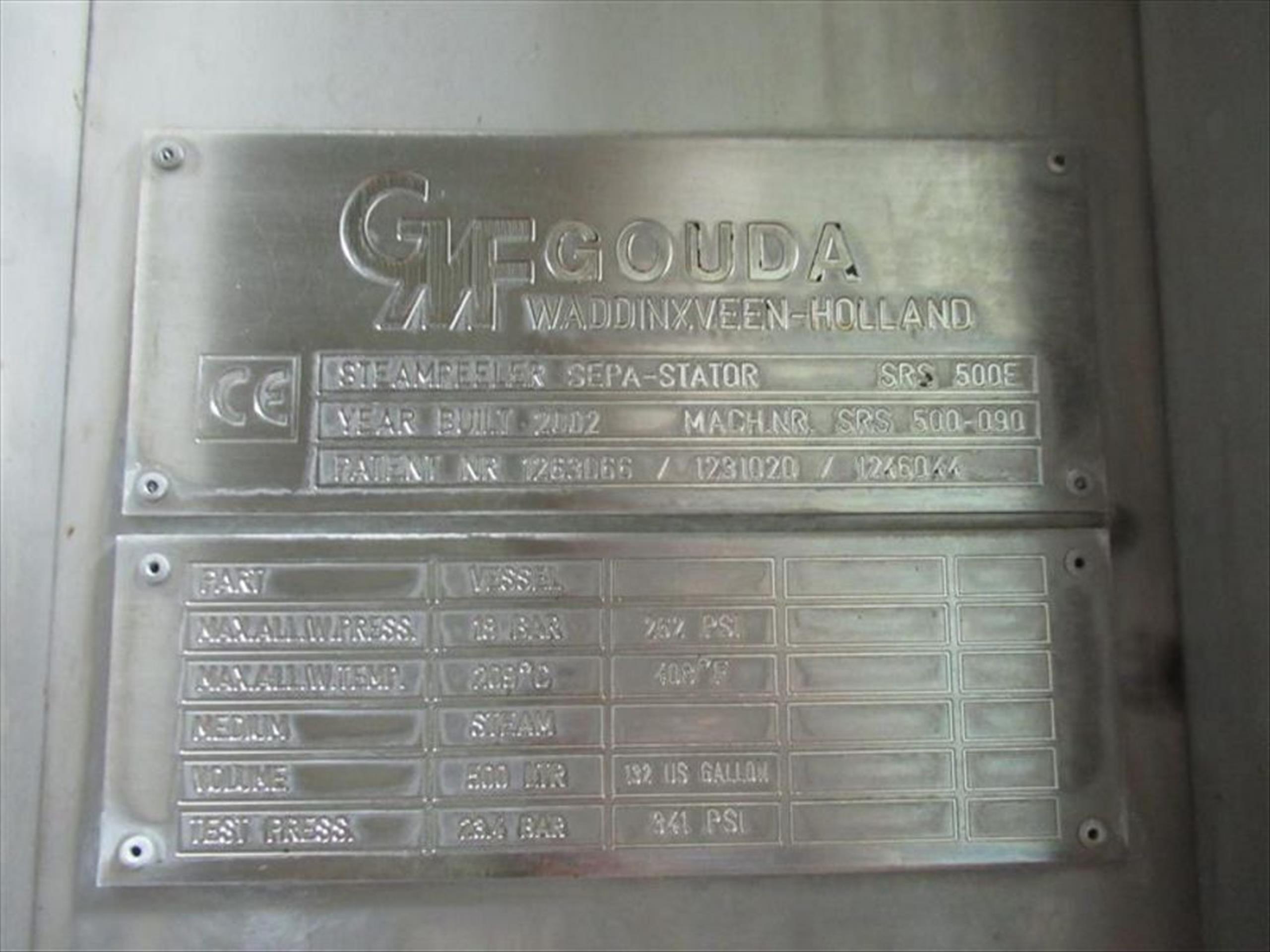 GMF Gouda steam peeler mod. no. Sepa-Strator SRS 500E ser. no. SRS 500-090 complete with rotary - Image 4 of 6