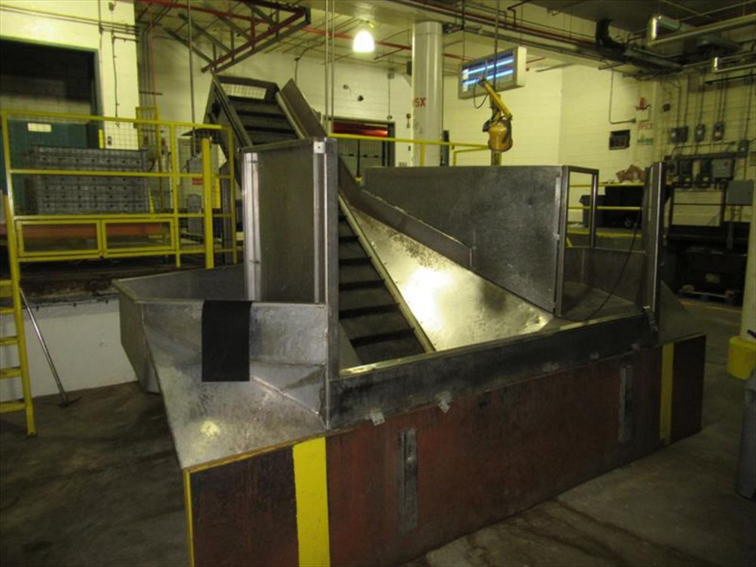 Vegetable stainless receiving hopper conveyor bunker type, approx 10 ft w x 24 in h x 4 ft deep - Image 2 of 3