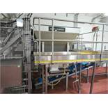 Stainless meat hopper approx 72 in x 72 ft top x 30 in x 24 in bottom x 4 ft h, with magnetic