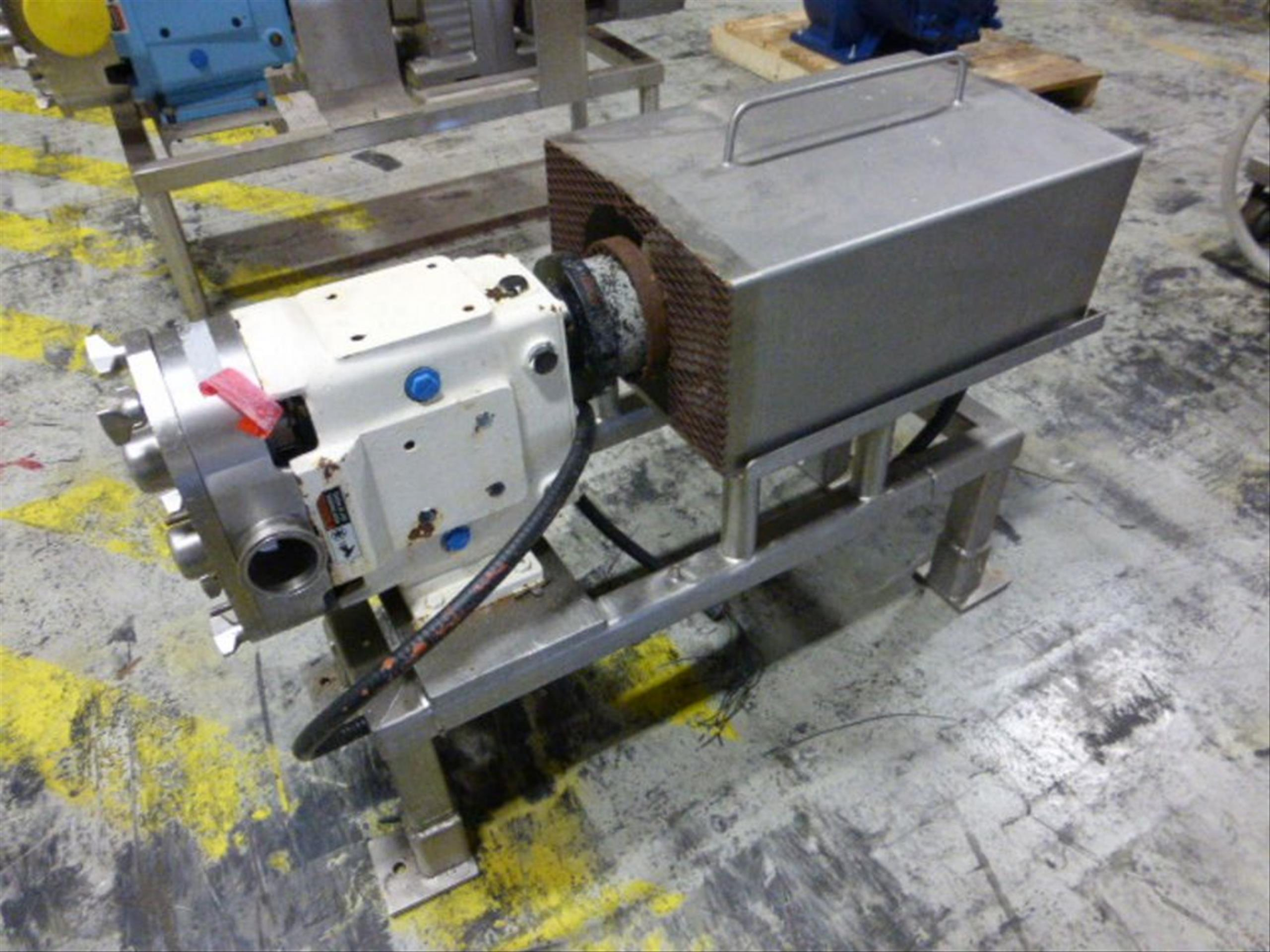 SPX 2.5 in stainless positive displacement pump, model 060 UI, ser. no 415645-13, with 5 hp motor,