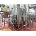3 Tank CIP System with (4) approx 500 gallons capacity, dome top, 48 in dia x 78 in h CIP tanks,