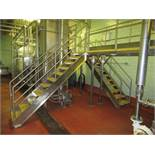 Blancher inspection platform with (2) 10 steps stairways, Hd stainless framing and safety rails,