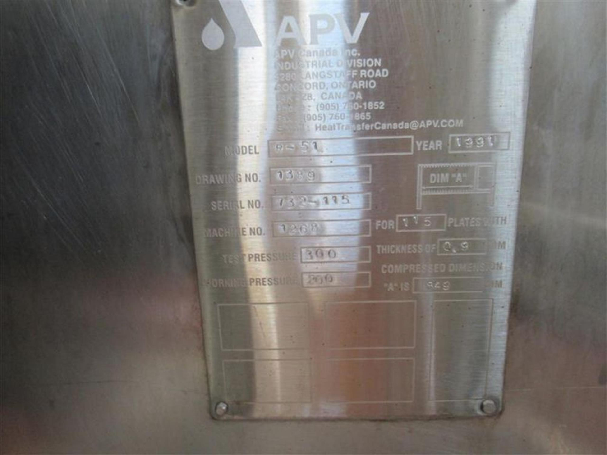 APV plate-in-frame sterilizer #2 mod. no. R-51 ser. no. 732-115 para flow with 316ss packed - Image 2 of 2