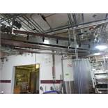 Suspended table top feed conveyor 4-1/2 in x 20 ft long with connecting twist drop, stainless frame,