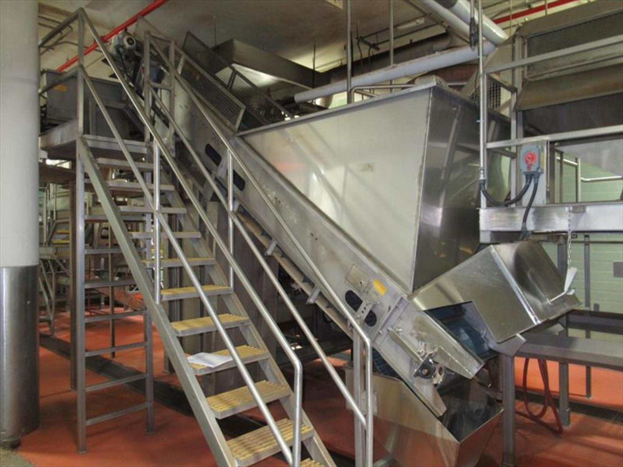Thermoplastic hopper elevator conveyor approx 24 in w x 13 ft l x 14 ft h with flighted modular belt