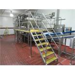 Inspection platform approx 36 in w x 20 ft l total length, x 5 ft h with 6 steps access stairway
