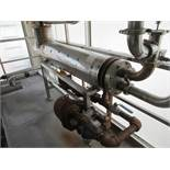 Tube in shell heat exchanger set and steam system approx 8 in dia x 7 ft l booster HEX with steam