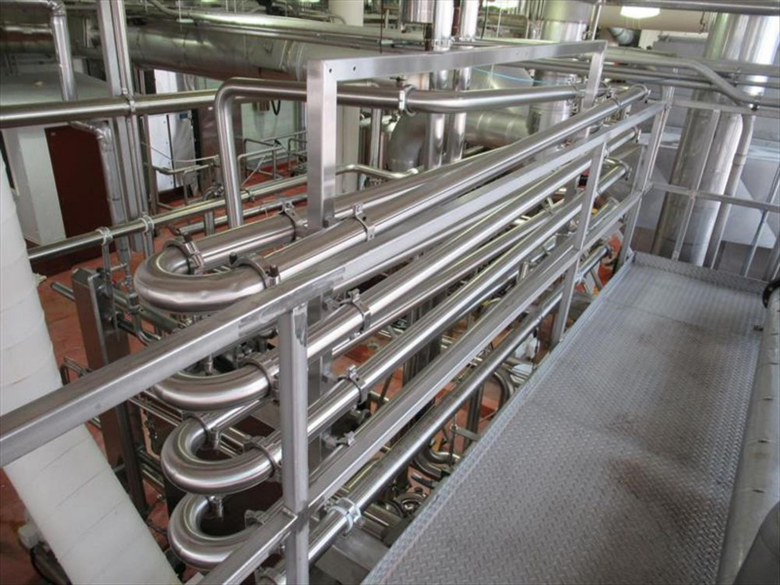 Hot hold loop 4 pass, 3 in dia x 12 ft l per pass, from plate hex junction to recirculation pump and