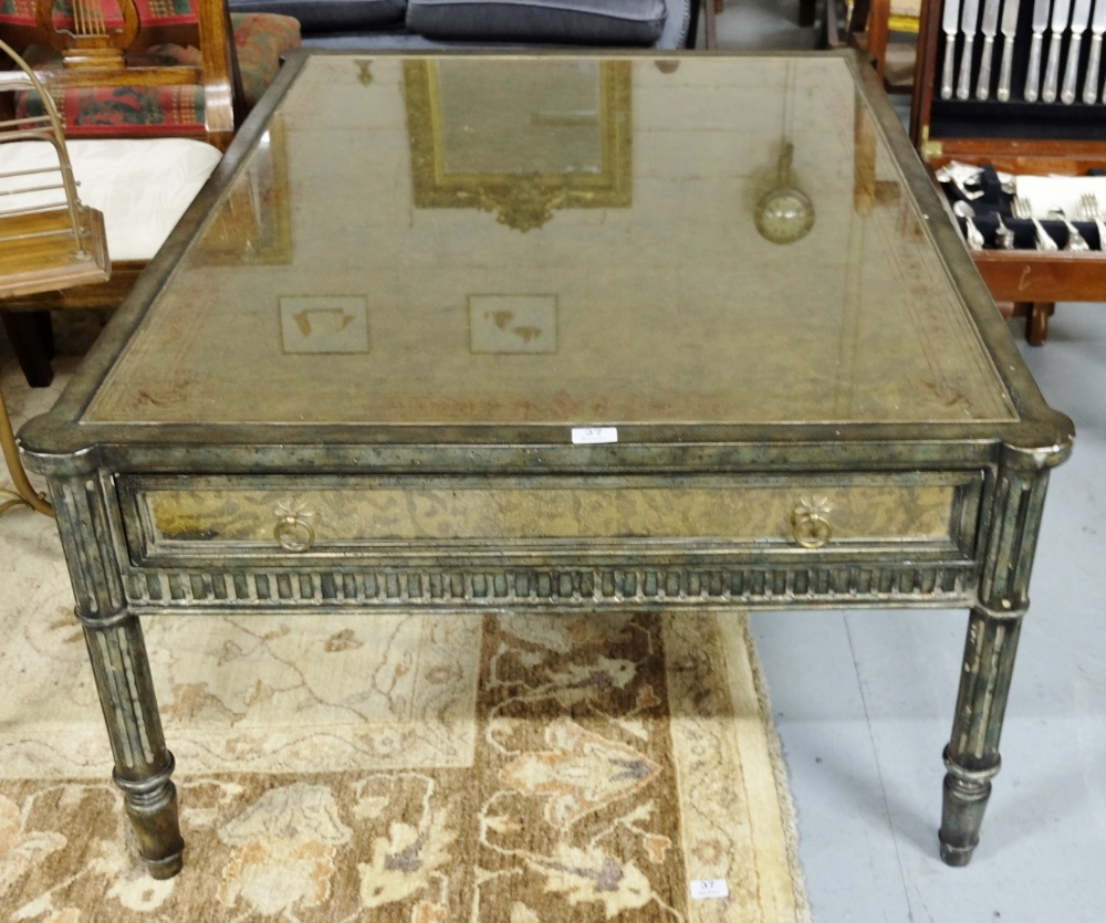 Lot 27 - Fine Continental style Coffee Table, the top and sides painted marbled green, red and gold, with