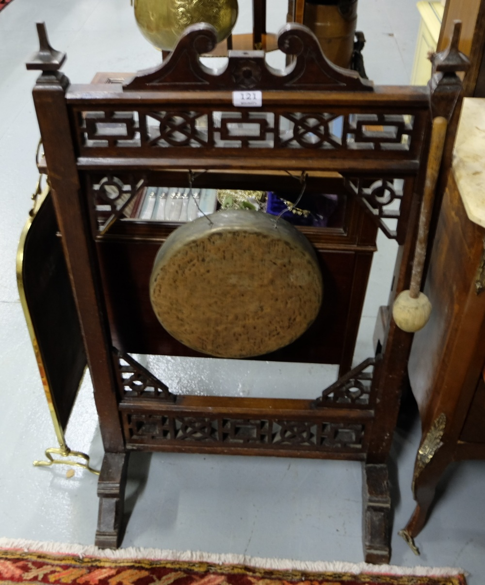 "Lot 121 - Brass Gong in carved walnut Stand, with striker, 40""h"