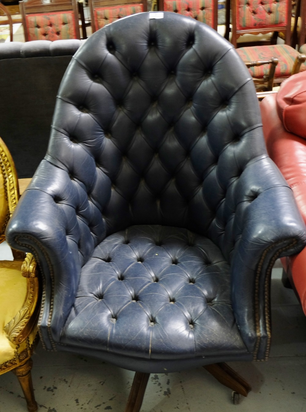 Lot 3 - Swivel Office Chair, blue leather upholstery, button back.