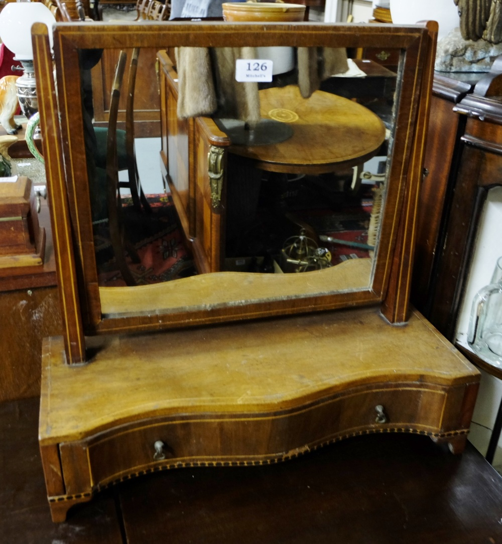 "Lot 126 - Edw. Inlaid Mahogany Toilet Mirror, with 1 base drawer, on raised feet, 20""w x 20""h"