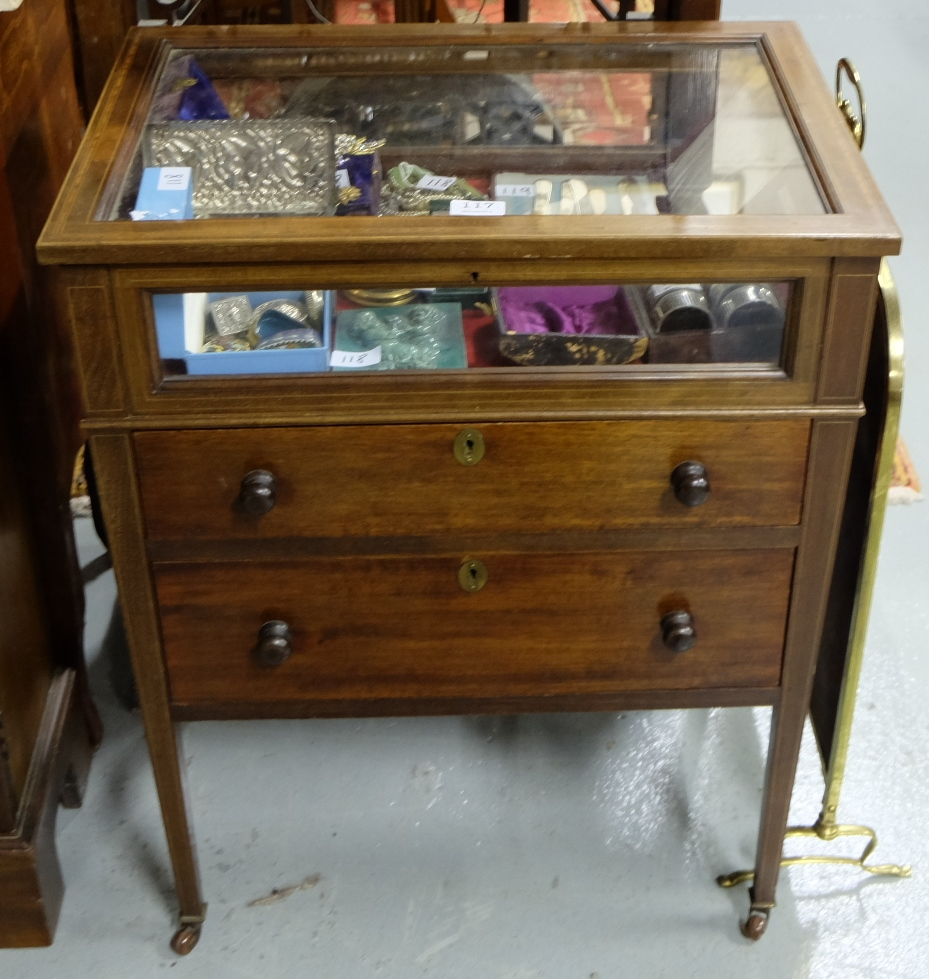 Lot 117 - Edwardian Inlaid Mahogany Table Display Cabinet, the hinged glass top and glass sides, over 2