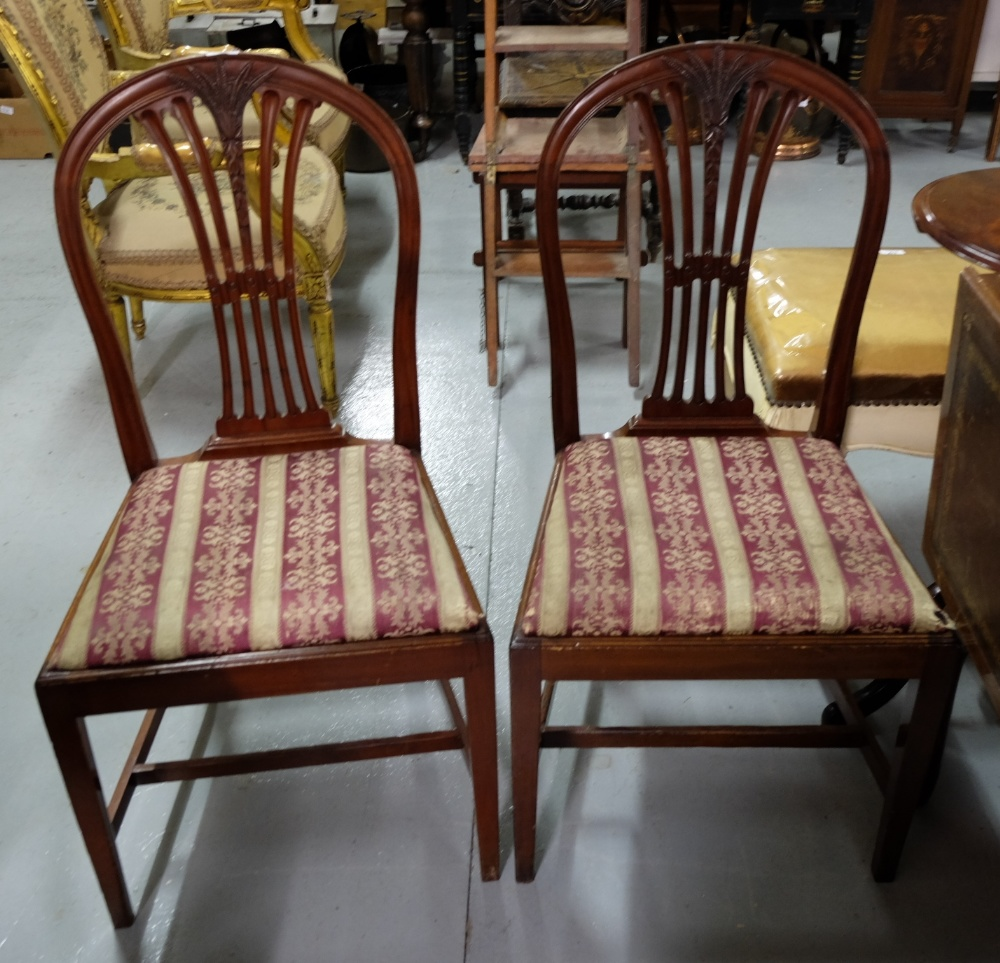Lot 15 - Matching Pair Mahogany Hepplewhite style Dining Chairs, red and gold fabric covered drop in seats,