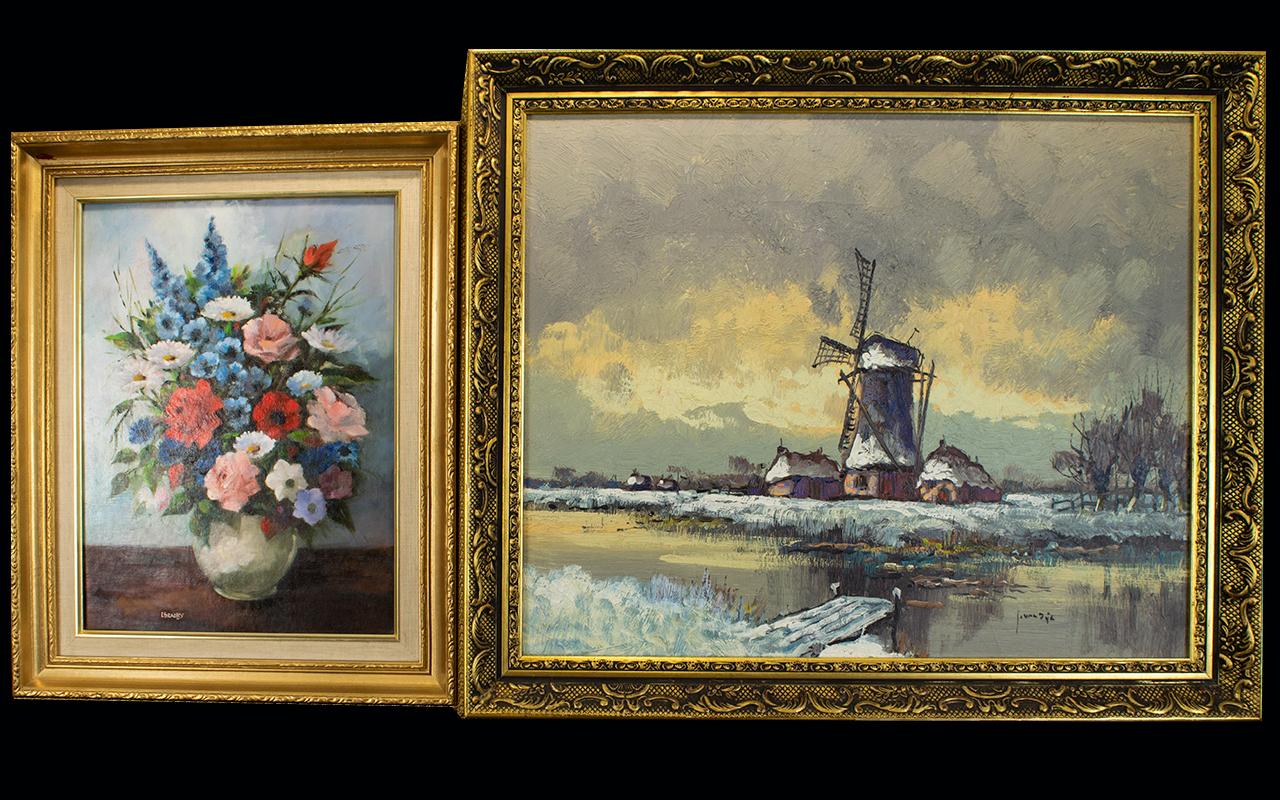 Lot 942 - Framed Oil On Canvas Large impasto oil d