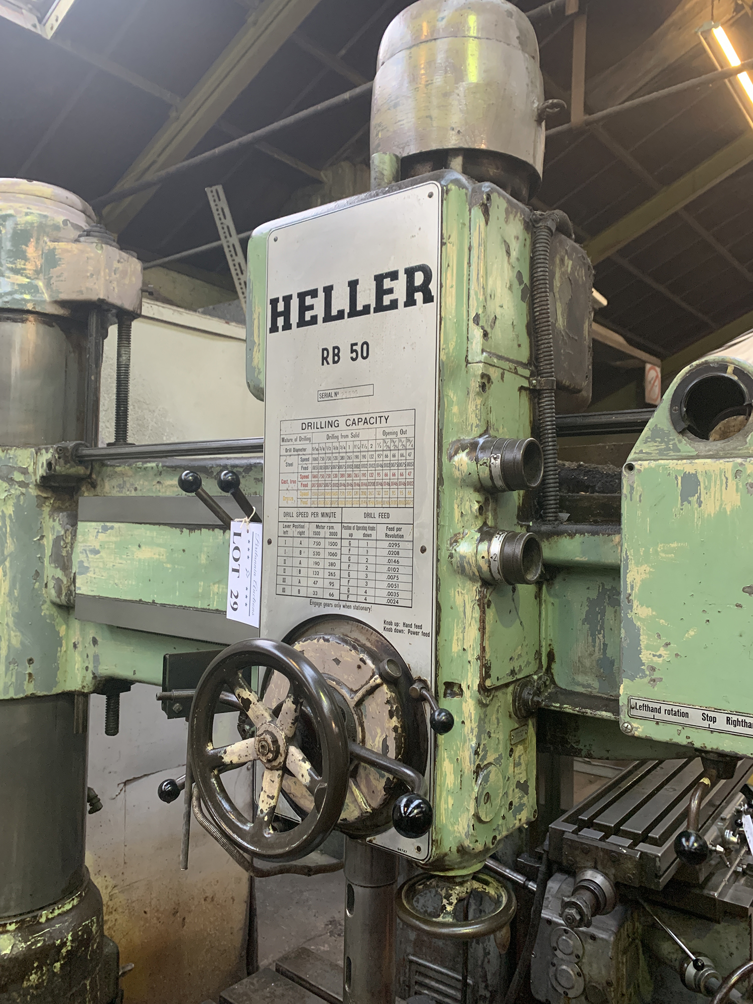 Heller Radial Arm Drill. 48'' Radius of Arm. Box Table Size 1000mm x 1000mm x 550mm. - Image 2 of 4