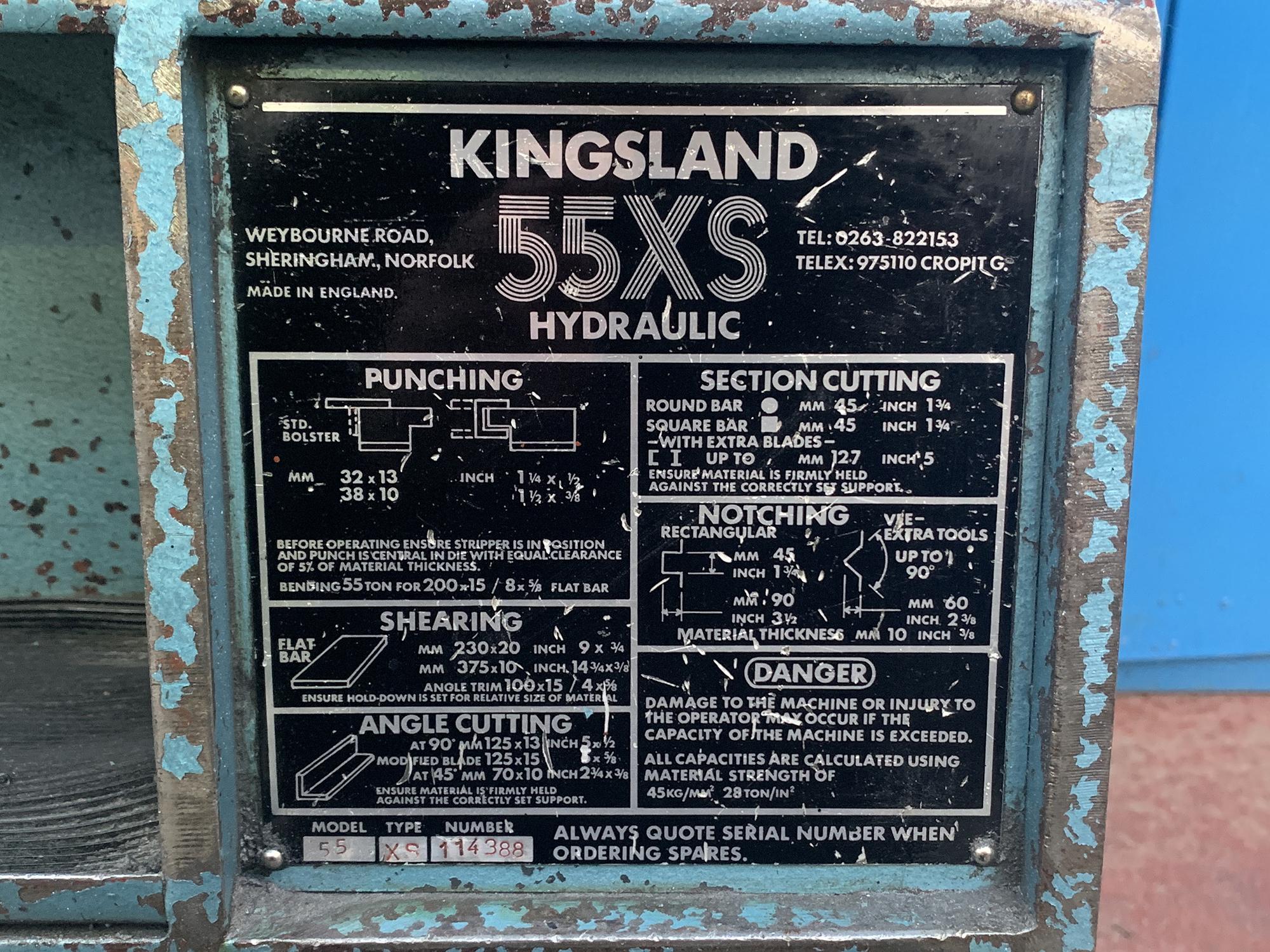 Kingsland 55XS Iron Worker. 55 Ton Capacity. - Image 8 of 8