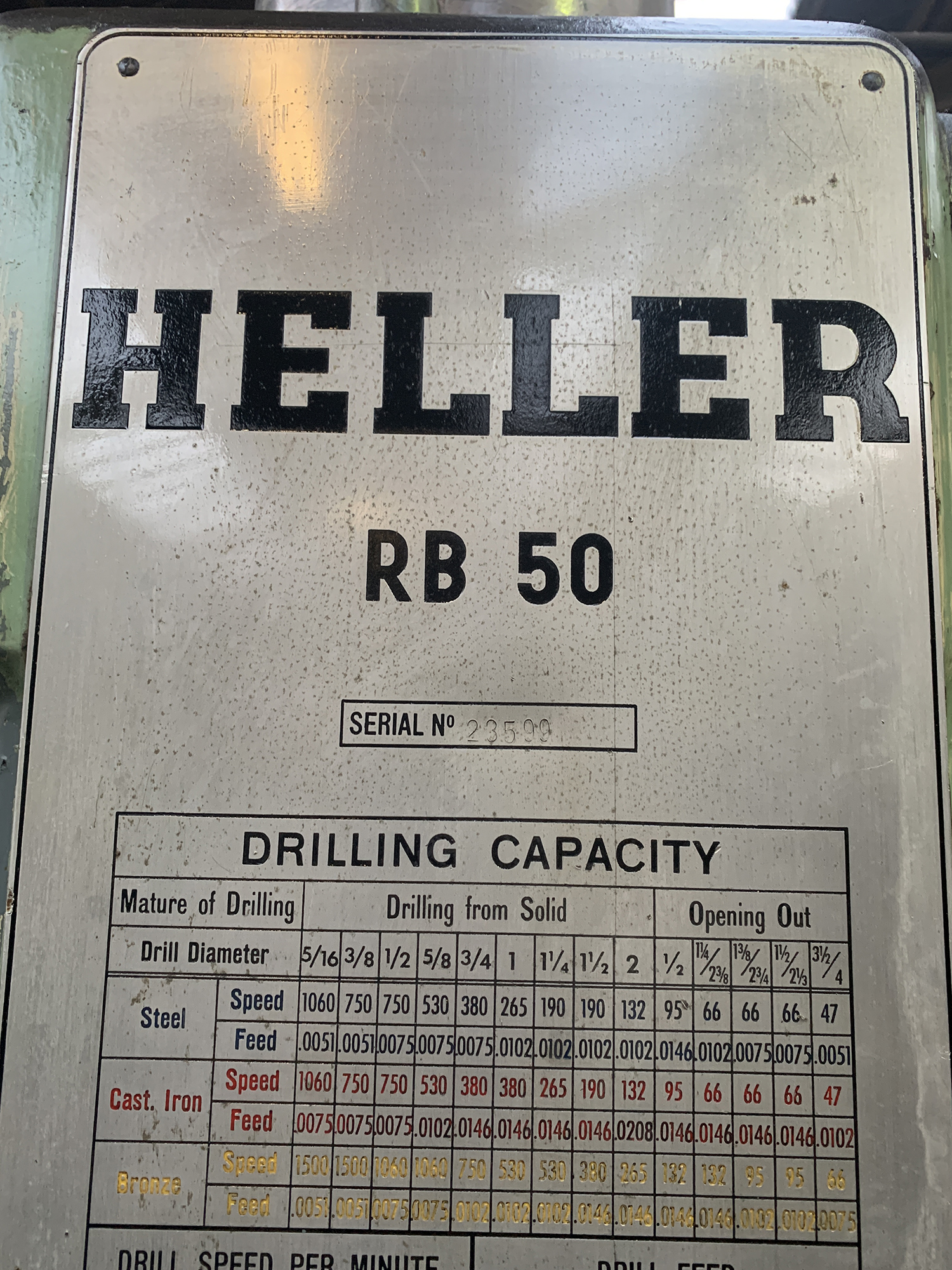 Heller Radial Arm Drill. 48'' Radius of Arm. Box Table Size 1000mm x 1000mm x 550mm. - Image 3 of 4