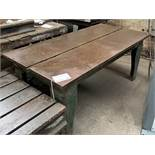"Cast Iron Welding Table. Table Size 36"" x 72"" x 30 3/4""."